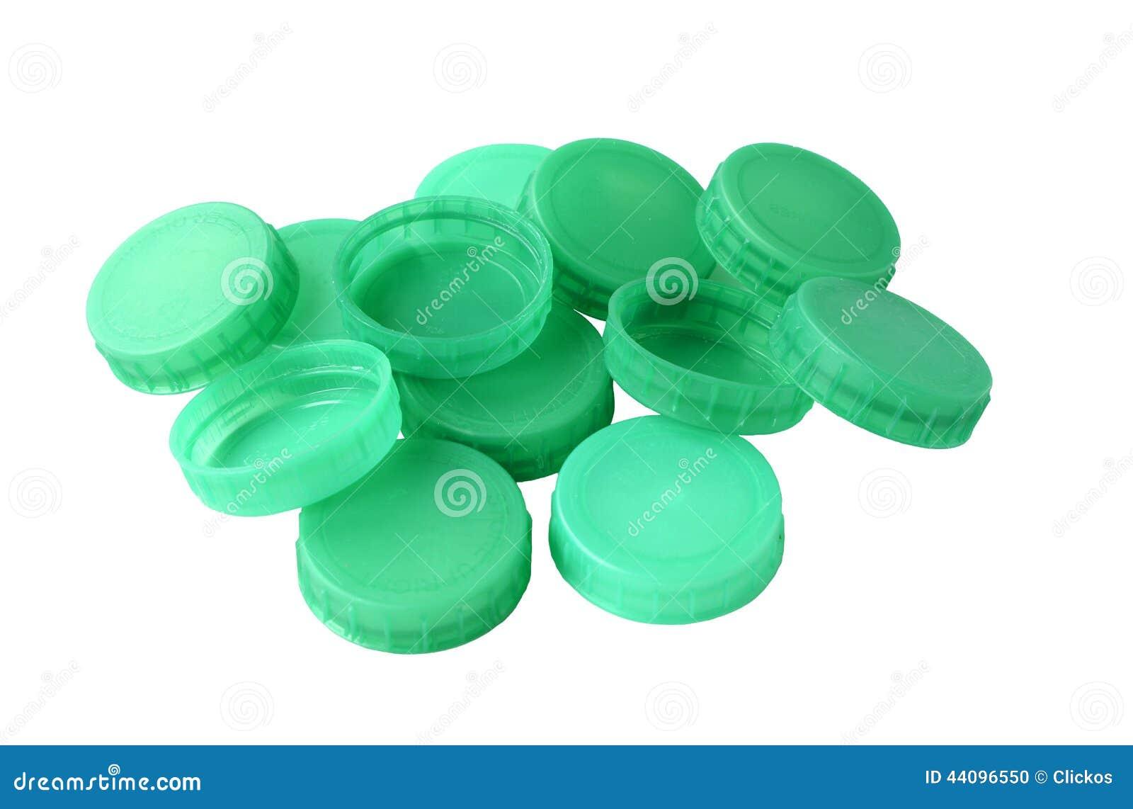 Green Plastic Bottle Tops Stock Photo Image 44096550