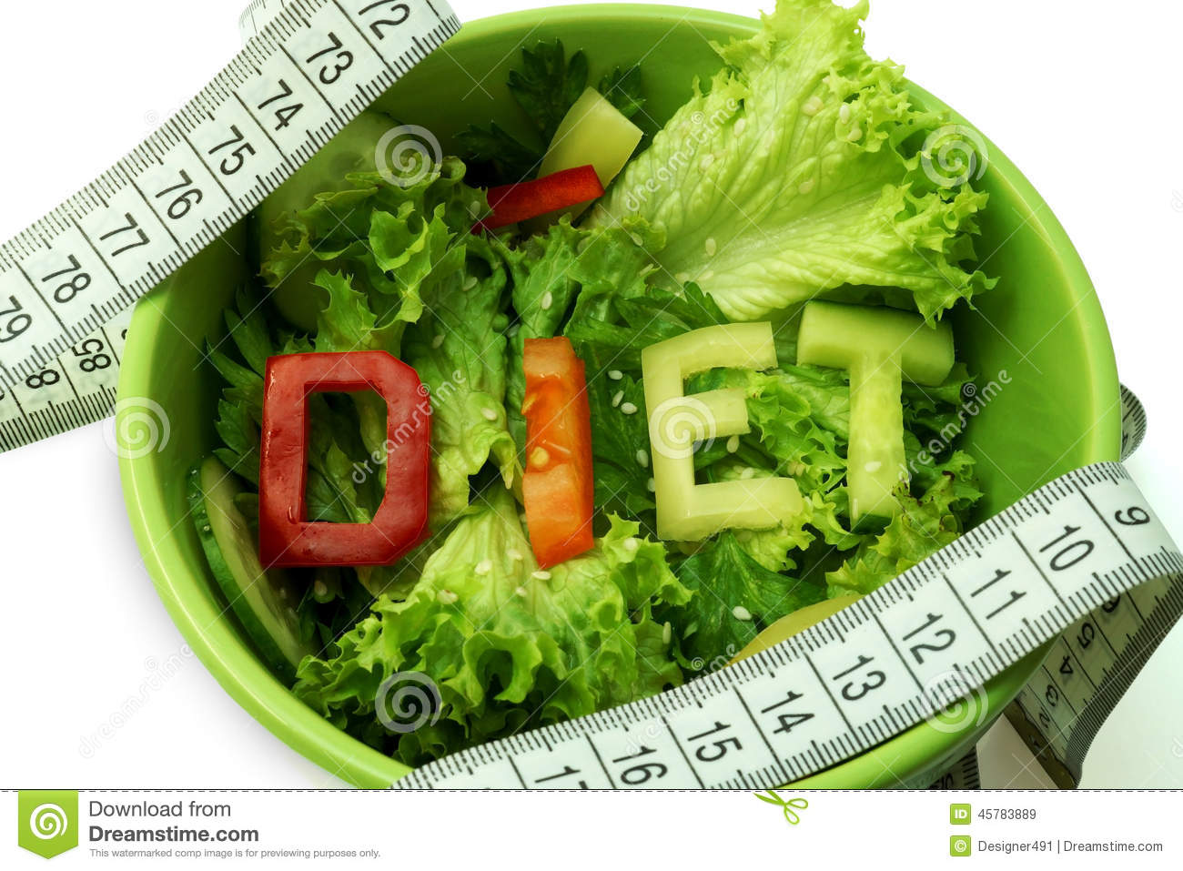 Green plate with word diet composed of slices