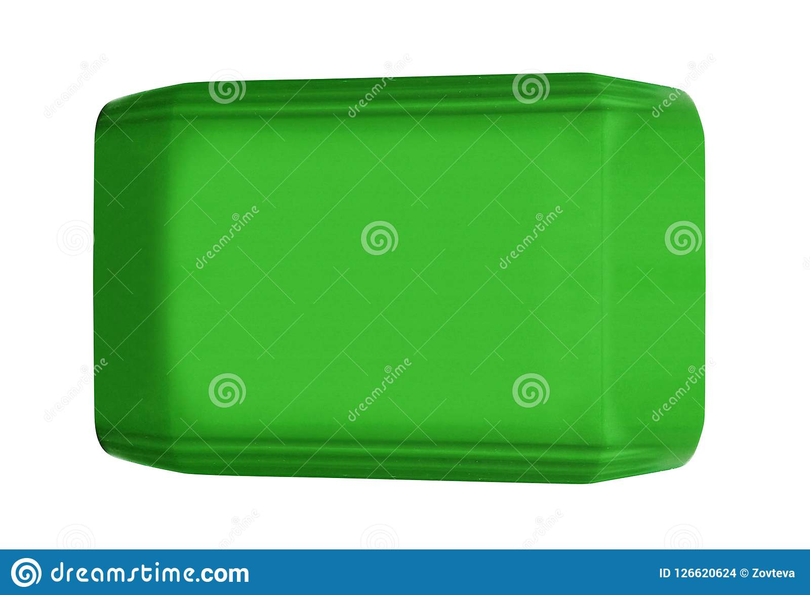 Green platic can isolated