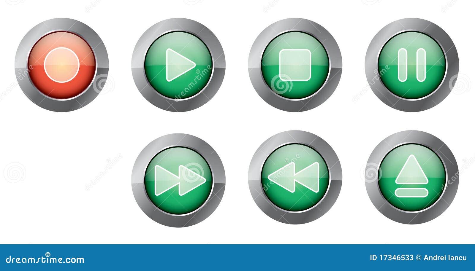 Green playback buttons stock photos image 17346533 - Green button ...