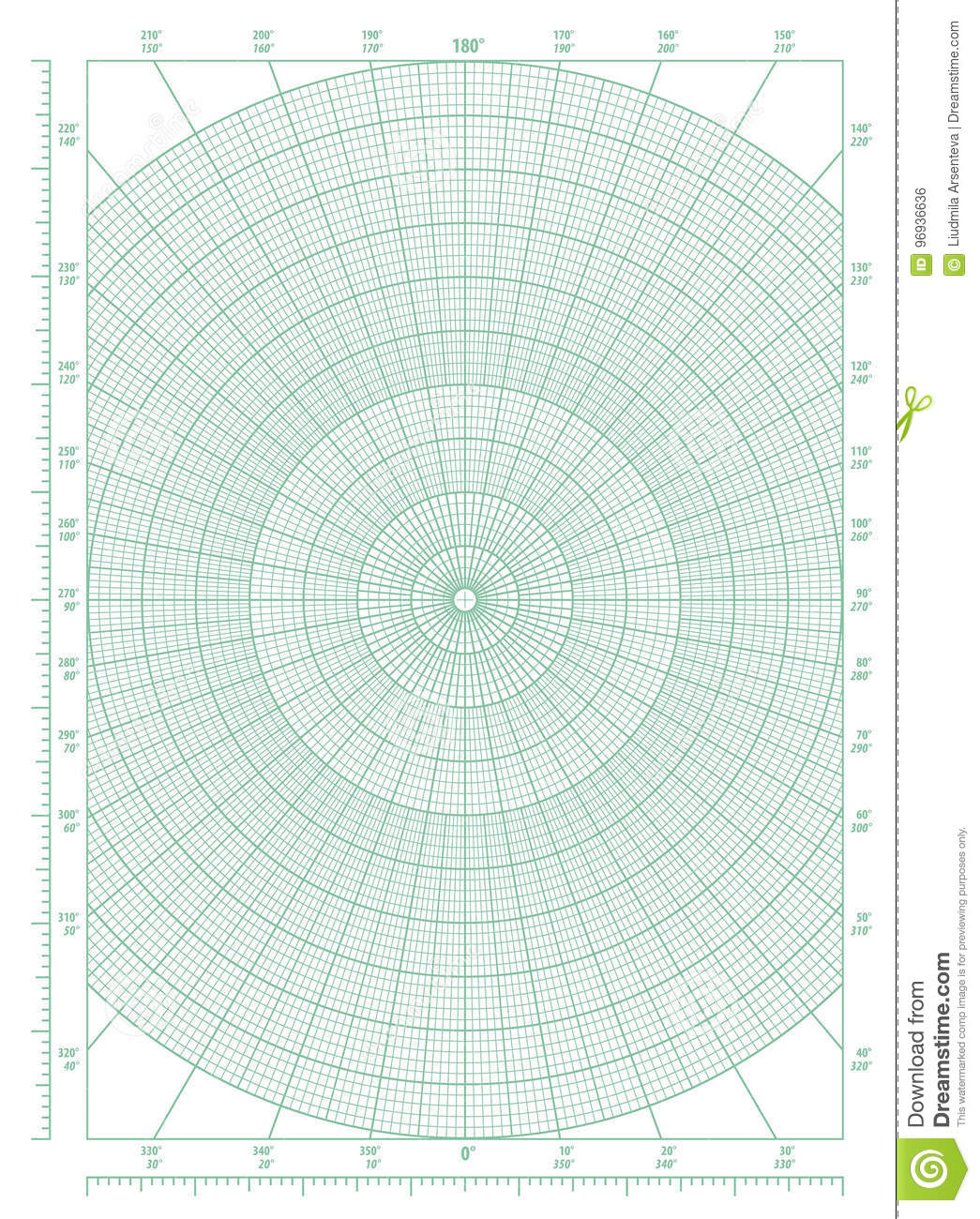 green polar coordinate circular grid graph paper stock