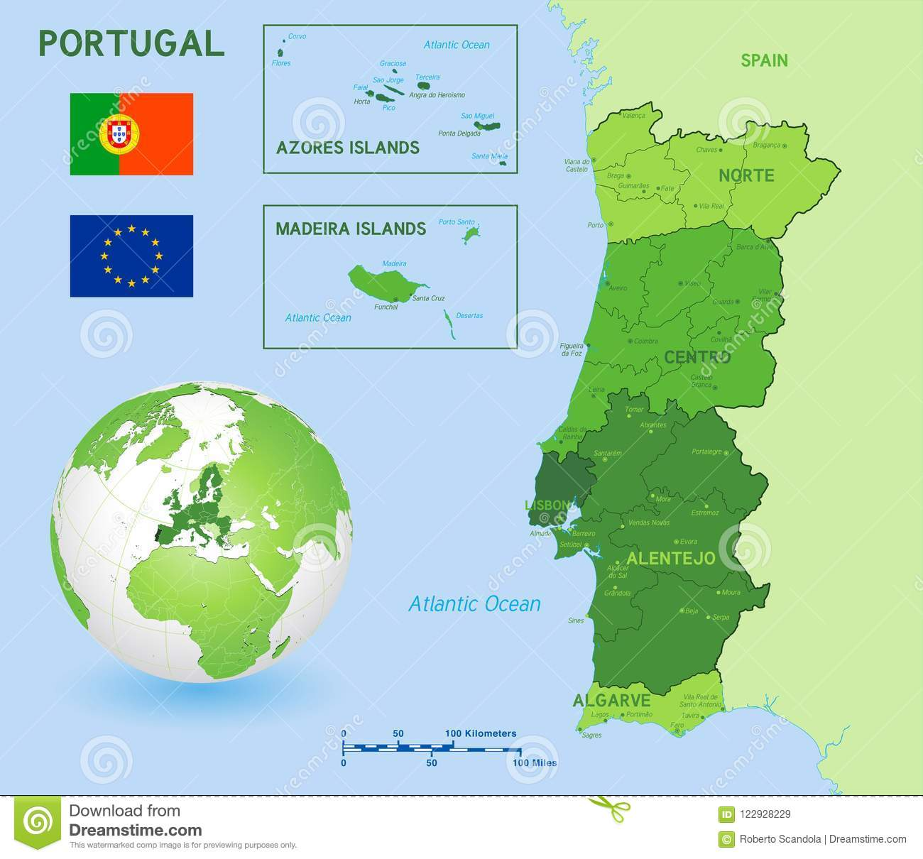 Image of: Green Political Vector Map Of Portugal Stock Vector Illustration Of Abstract Graphic 122928229