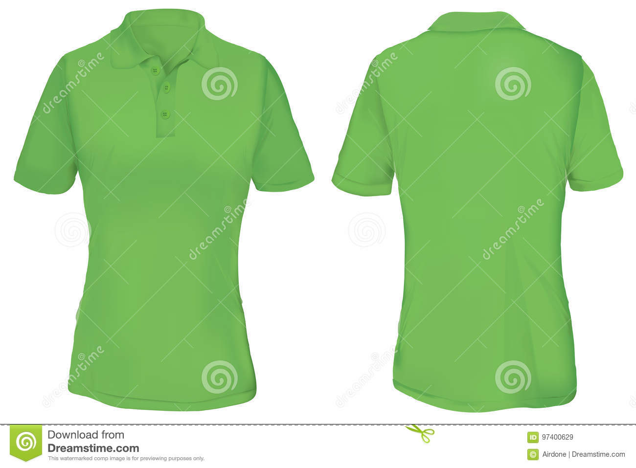 c3253bc0d Green Polo Shirt Template For Woman Stock Vector - Illustration of ...