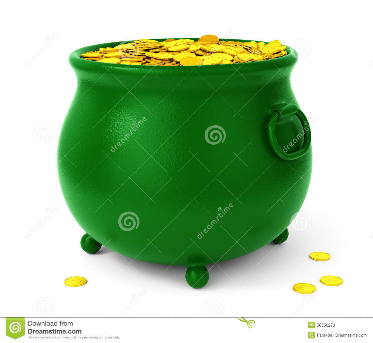 Green Pot With Coins Stock Illustration - Image: 50550273