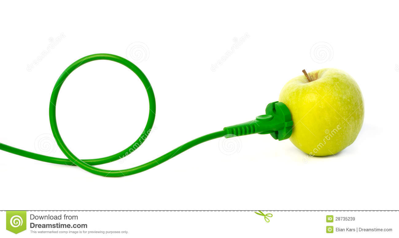 Green Power Cable : Green power cord plugged into apple outlet stock image