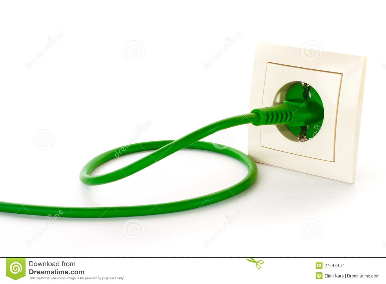 Download Green Power Plug Into Power Outlet Stock Image - Image of green, consumption: 27943407