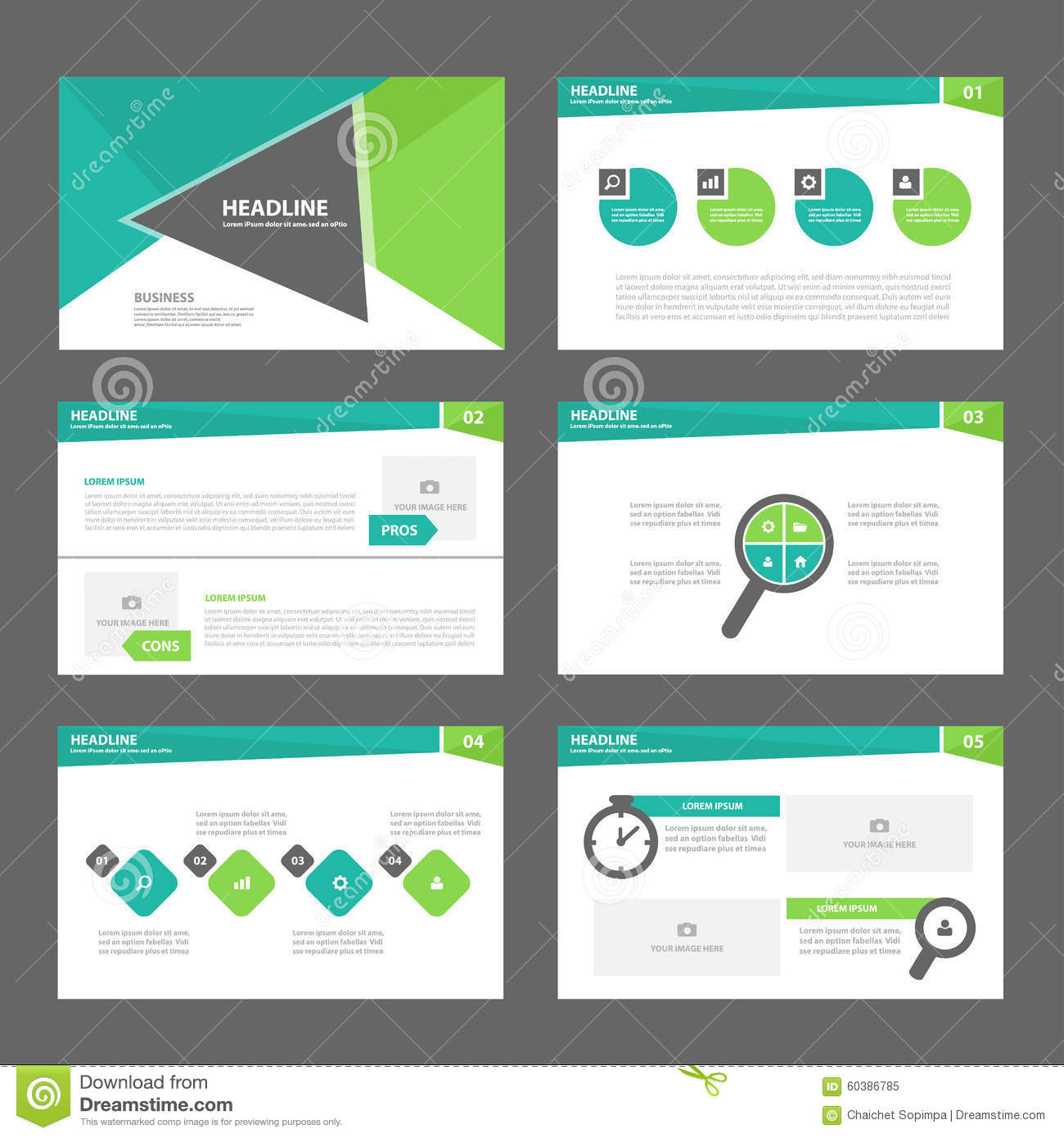 green presentation template annual report brochure flyer elements, Report Presentation Template, Powerpoint templates