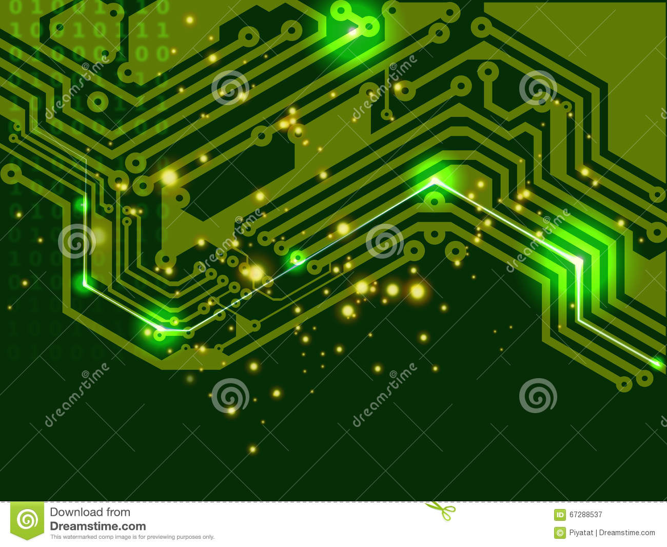 Digital Computer Board Circuit Filecomputer Green Printed Stock Illustration 1300x1066