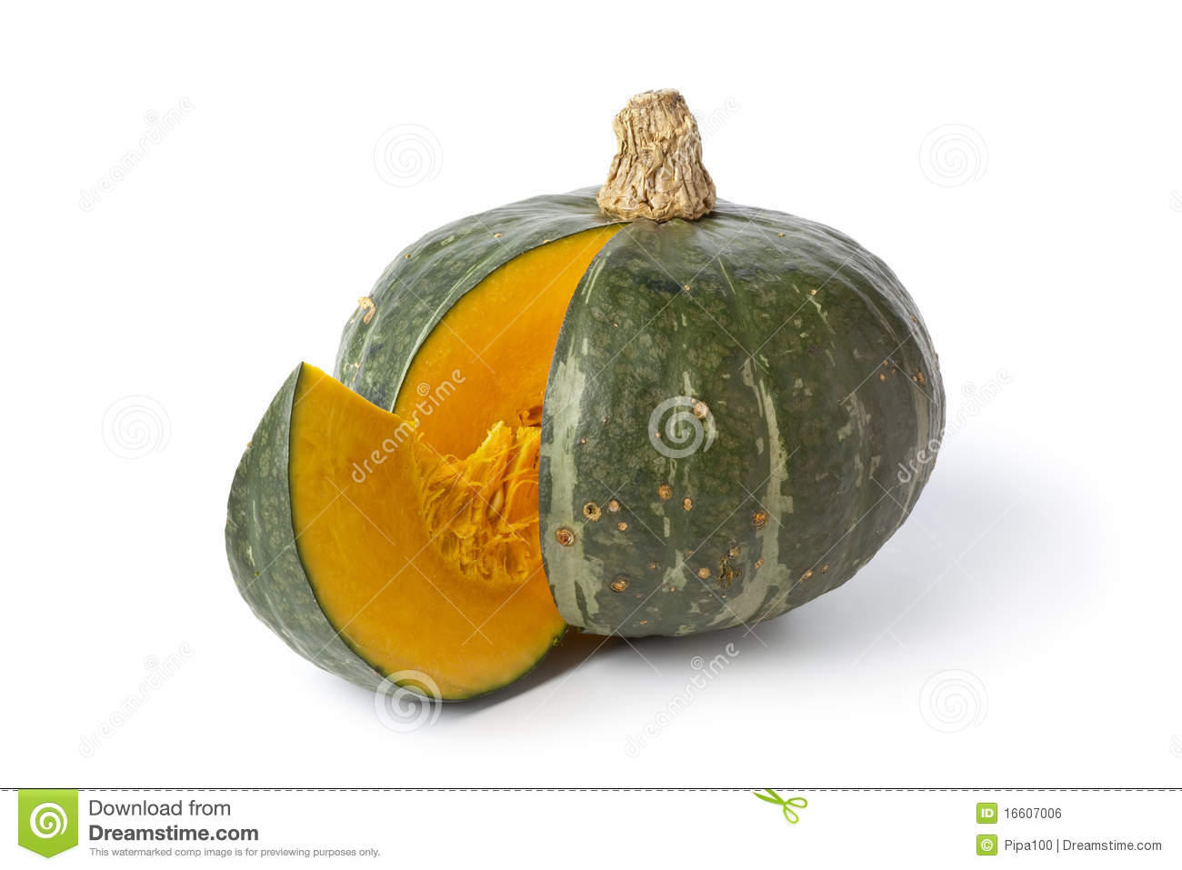 Green Pumpkin With A Slice Royalty Free Stock Image - Image: 16607006