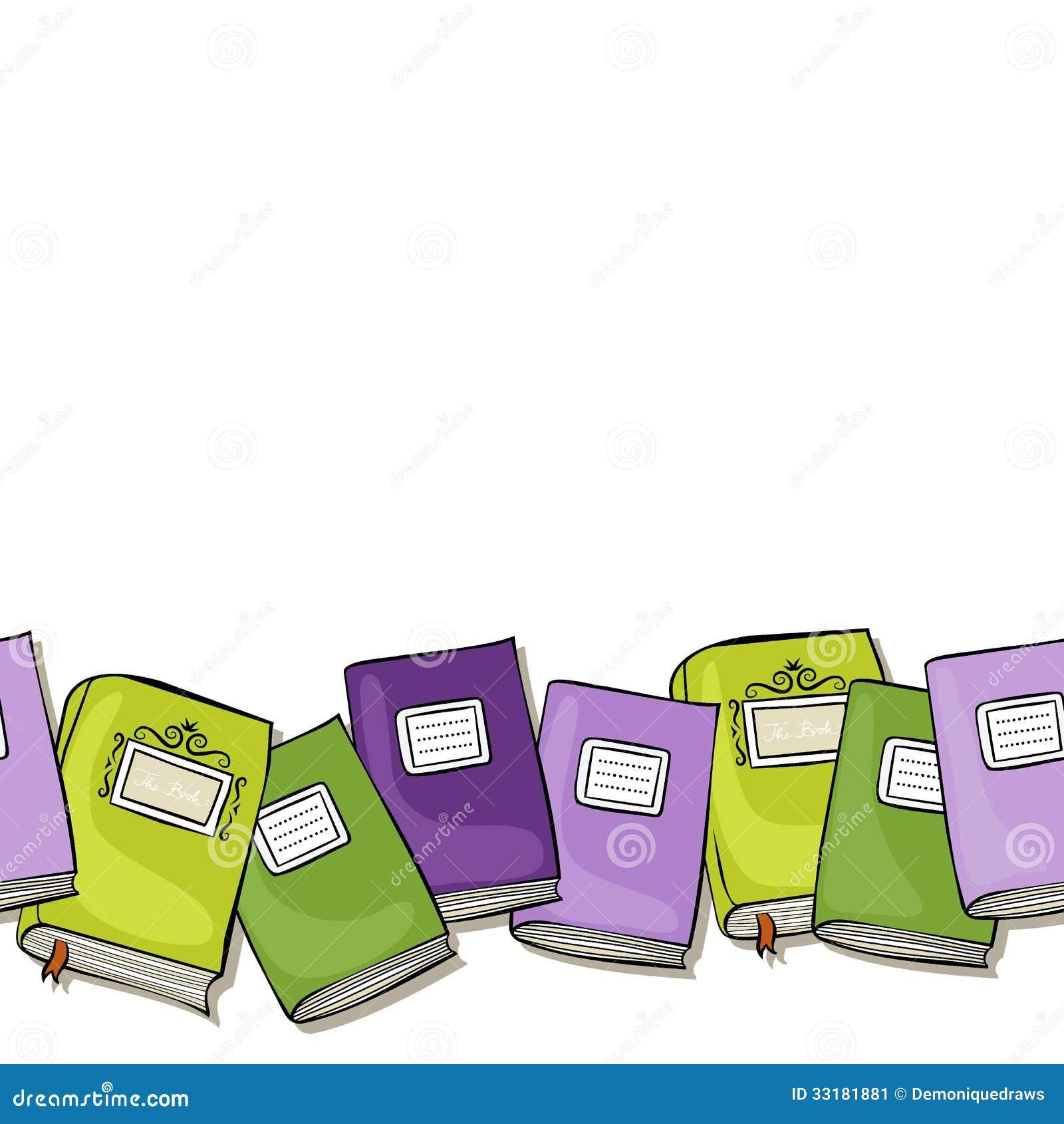Green Purple Books Horizontal Border Stock Illustration ...