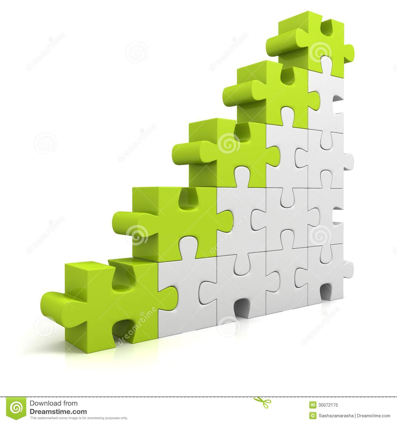 Green Puzzle Success Business Bar Chart Diagram Stock