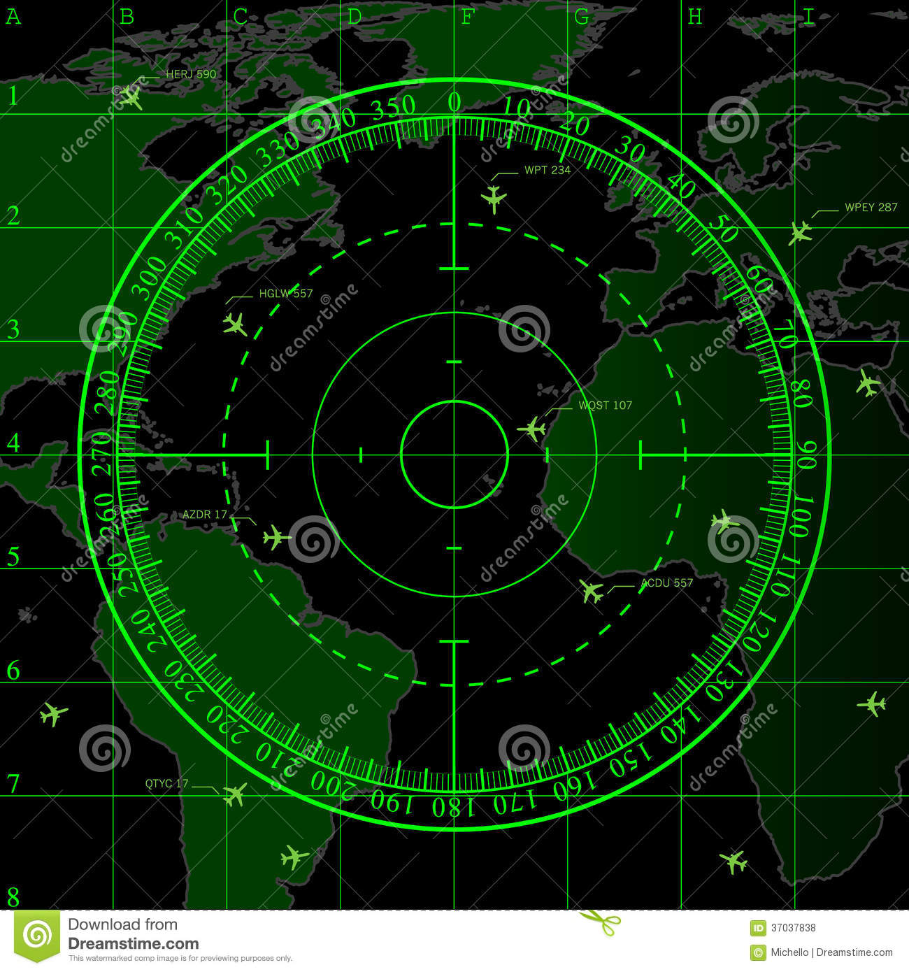 Green Radar Screen Over Map Of The World Royalty Free Stock Photos Image 3