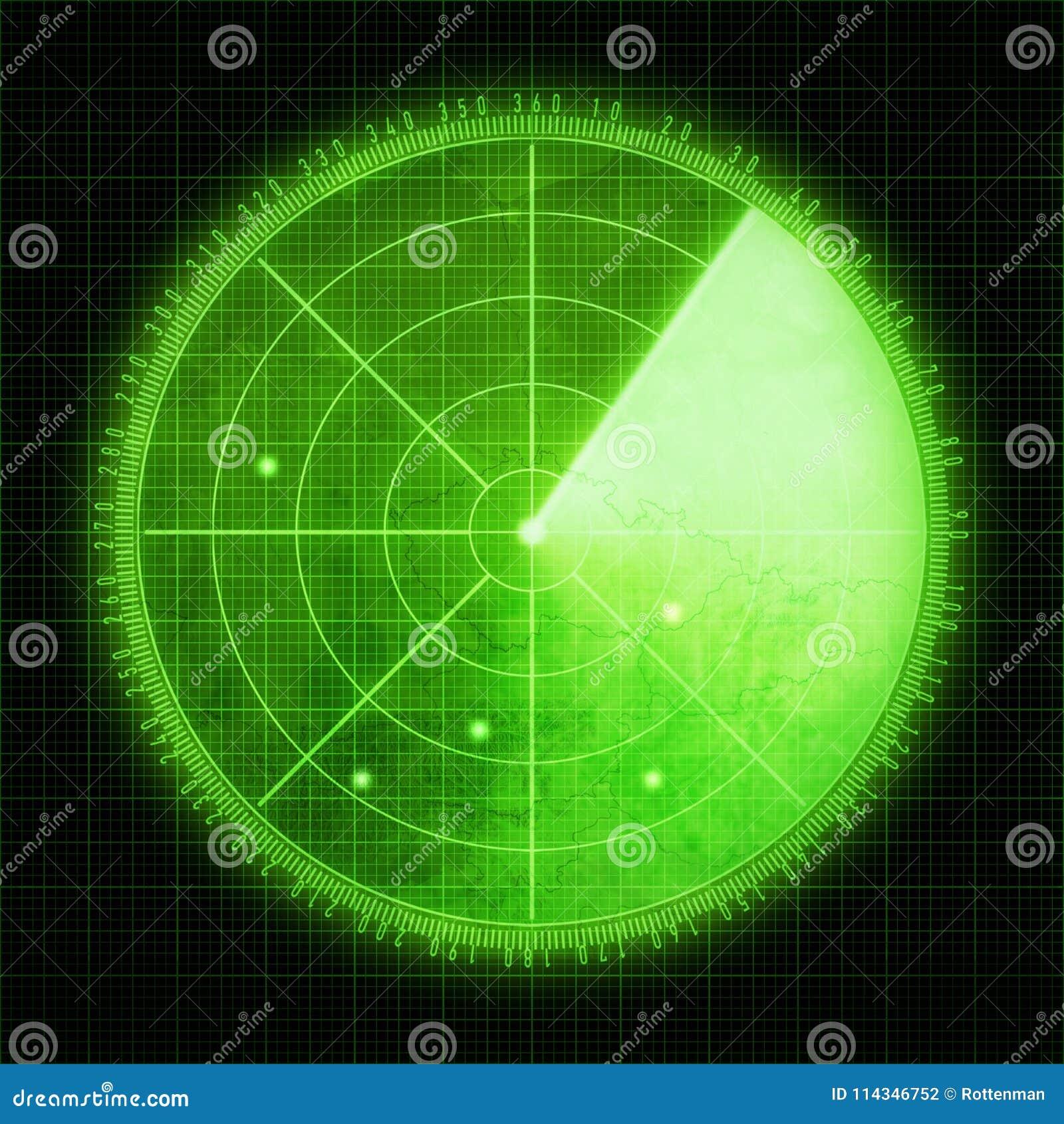 Green radar screen with targets