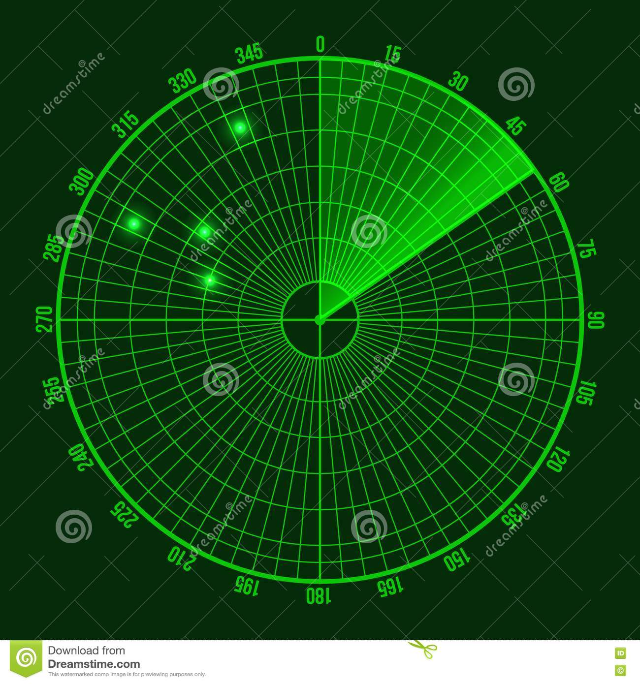 Green Radar Screen Vector Stock Vector Illustration Of