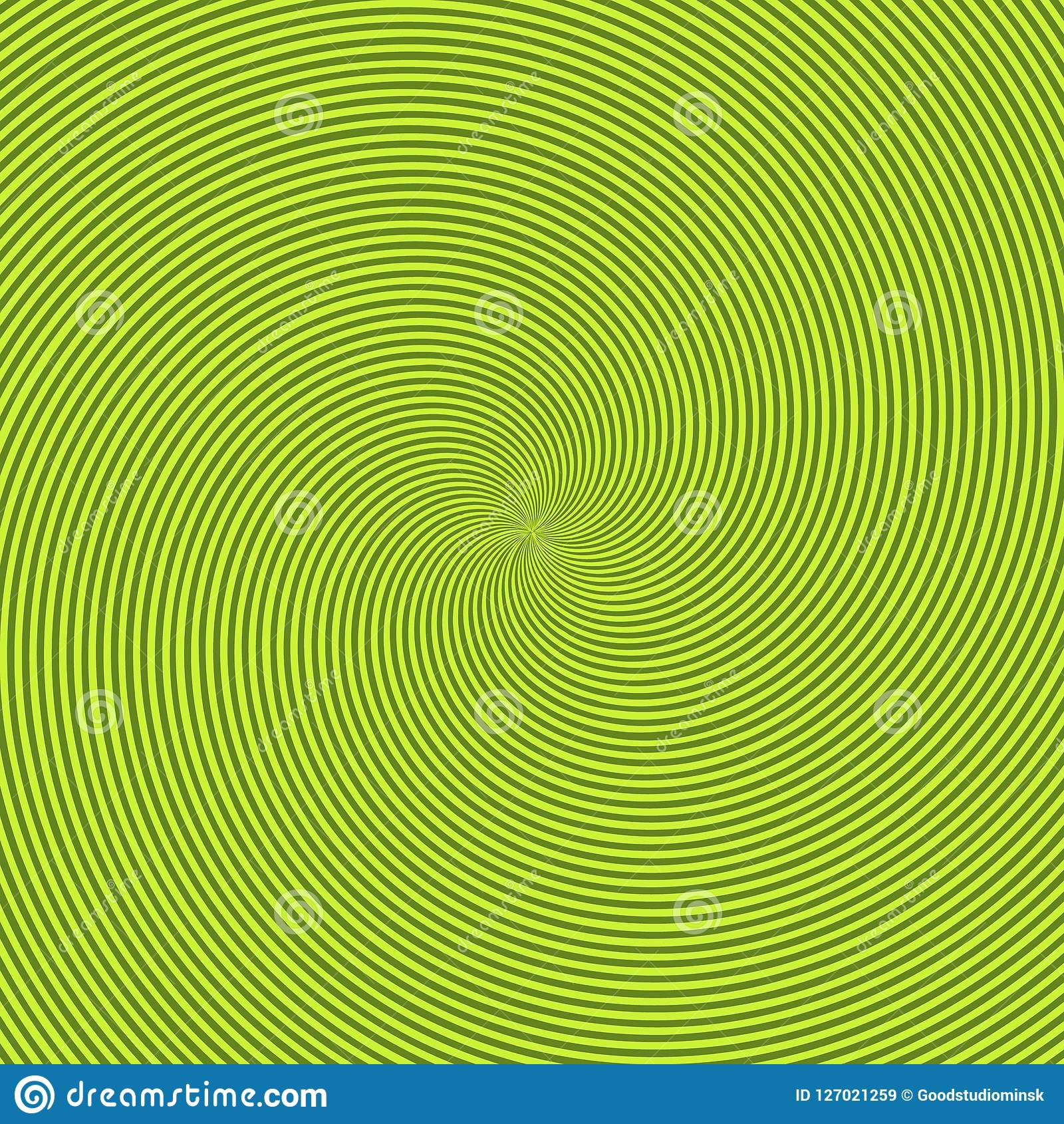 Green radiant background with circular swirl, helix or twist. Backdrop with round optical illusion, hallucination