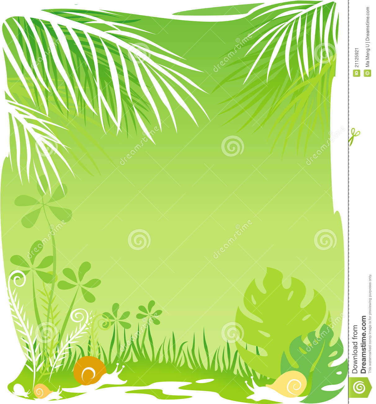 Green rainforest background with copy space on the center.