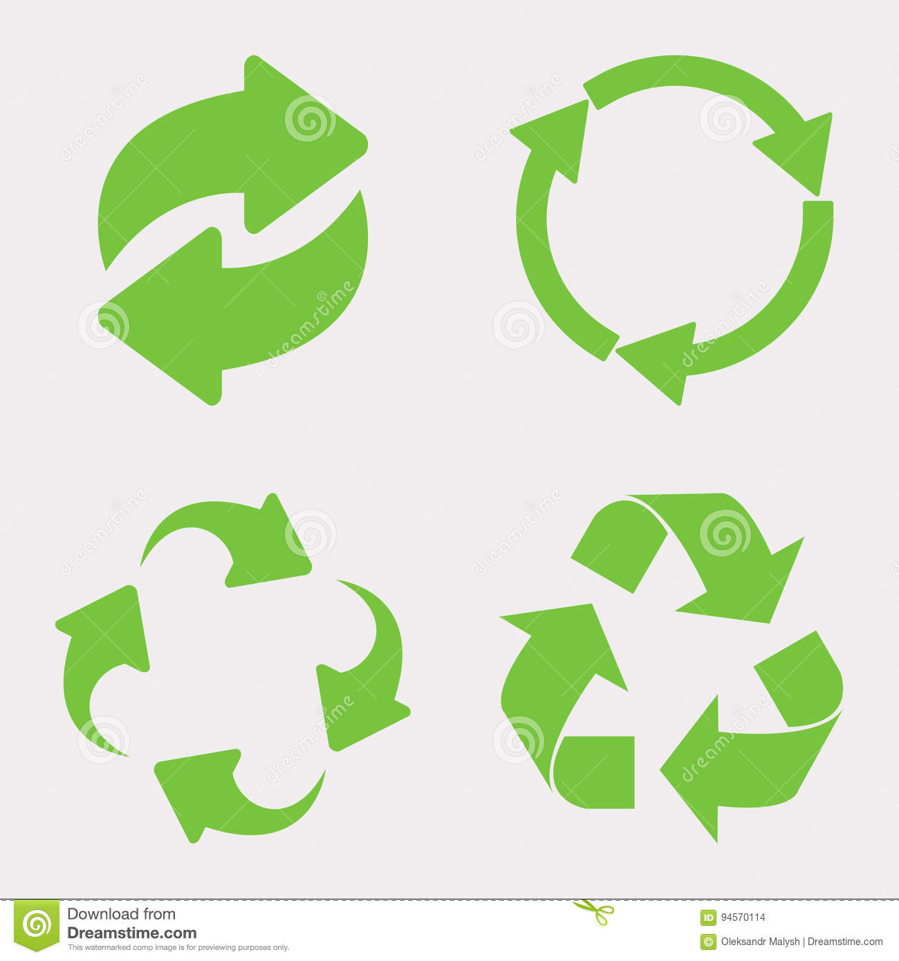 Download Green recycle icon set stock photo. Image of product - 94570114