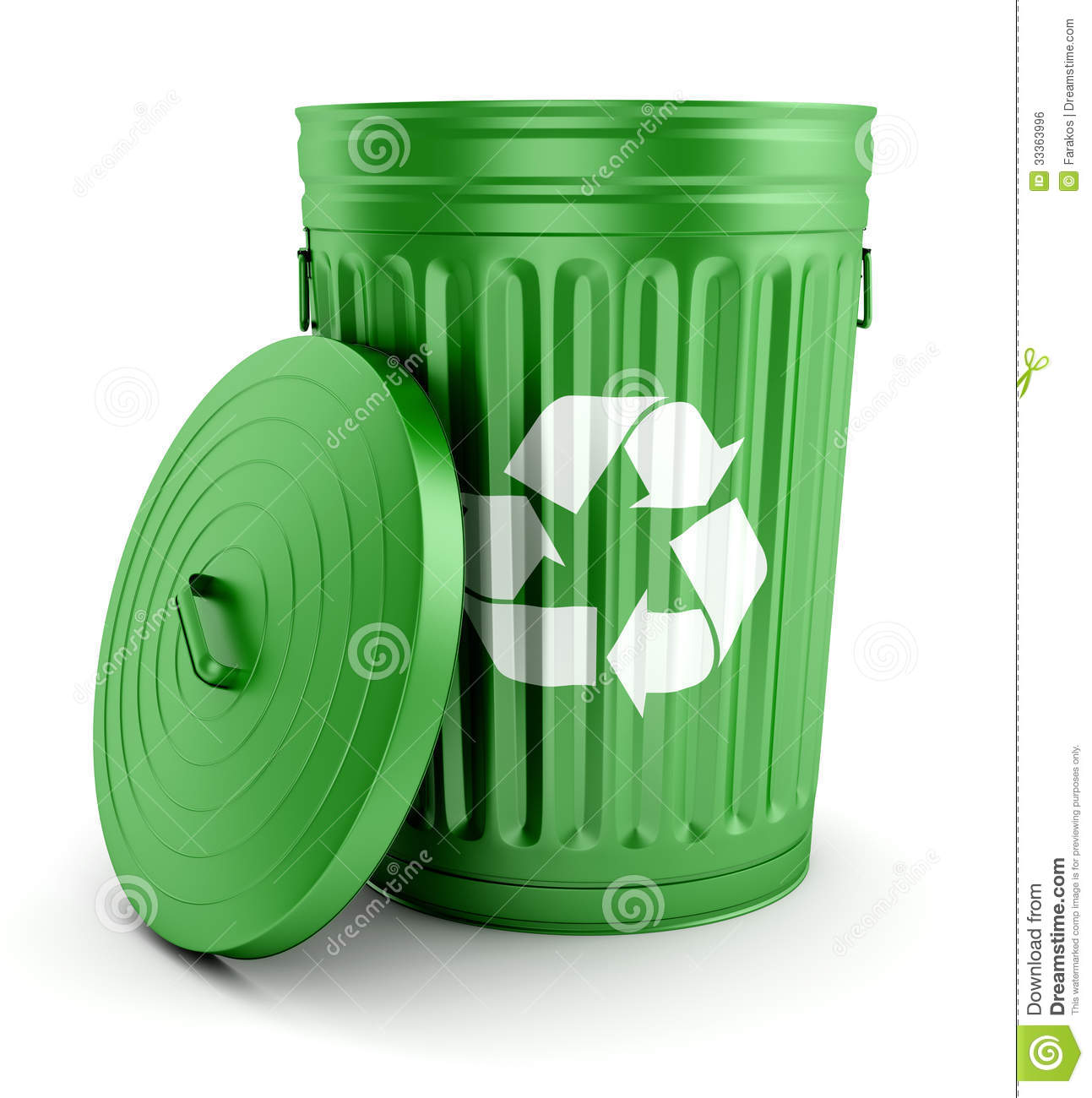 Green Recycle Trash Can With Lid 3d Royalty Free Stock