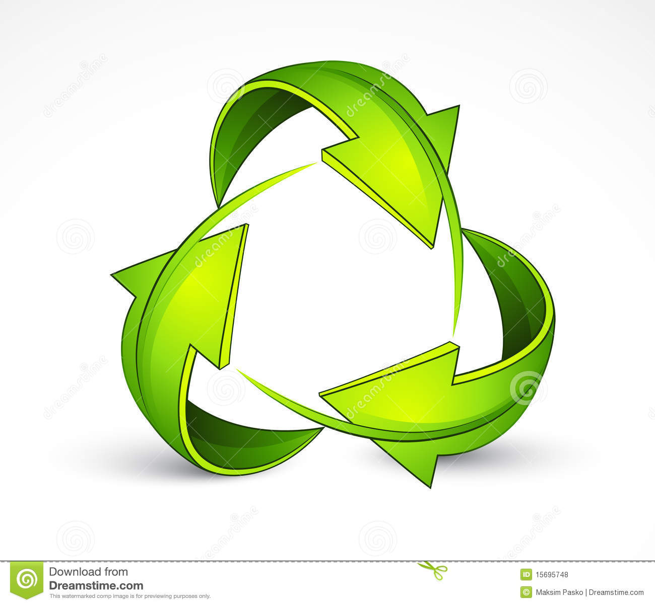 Illustration of green directional arrows in shape of recycling symbol ...