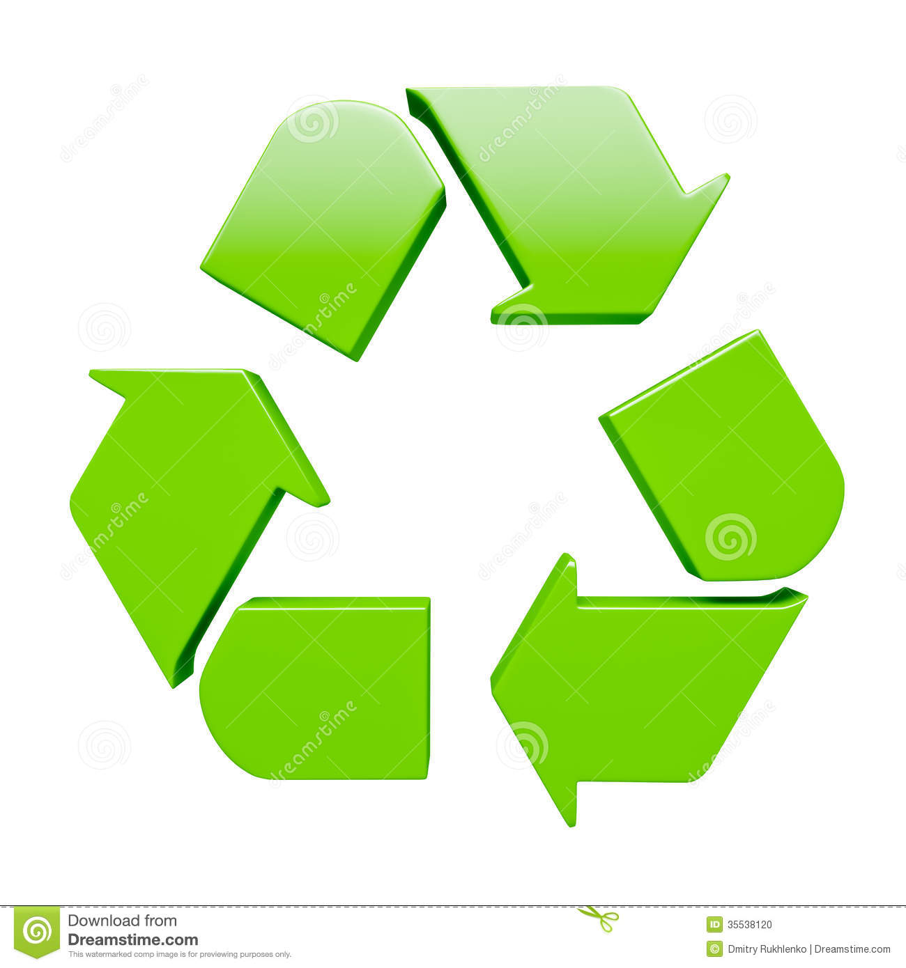 green recycling symbol isolated on white stock