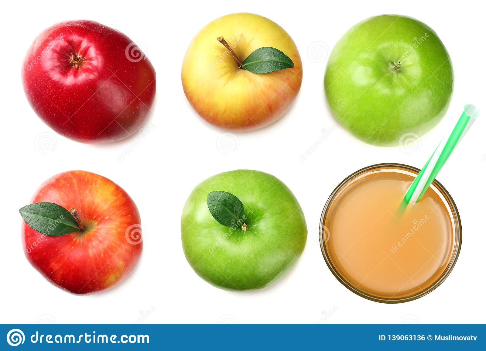 green and red apples with apple juice isolated on white background. top view