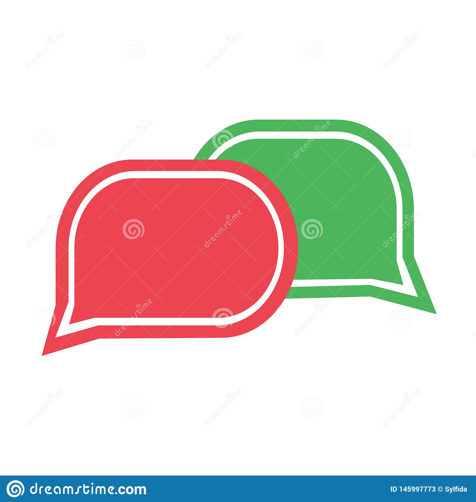 Green and red chat icon. Set dialog clouds. Vector