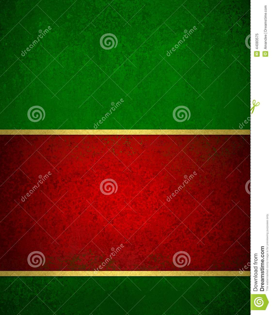 Green red Christmas background with vintage texture and gold trim accent Christmas ribbon
