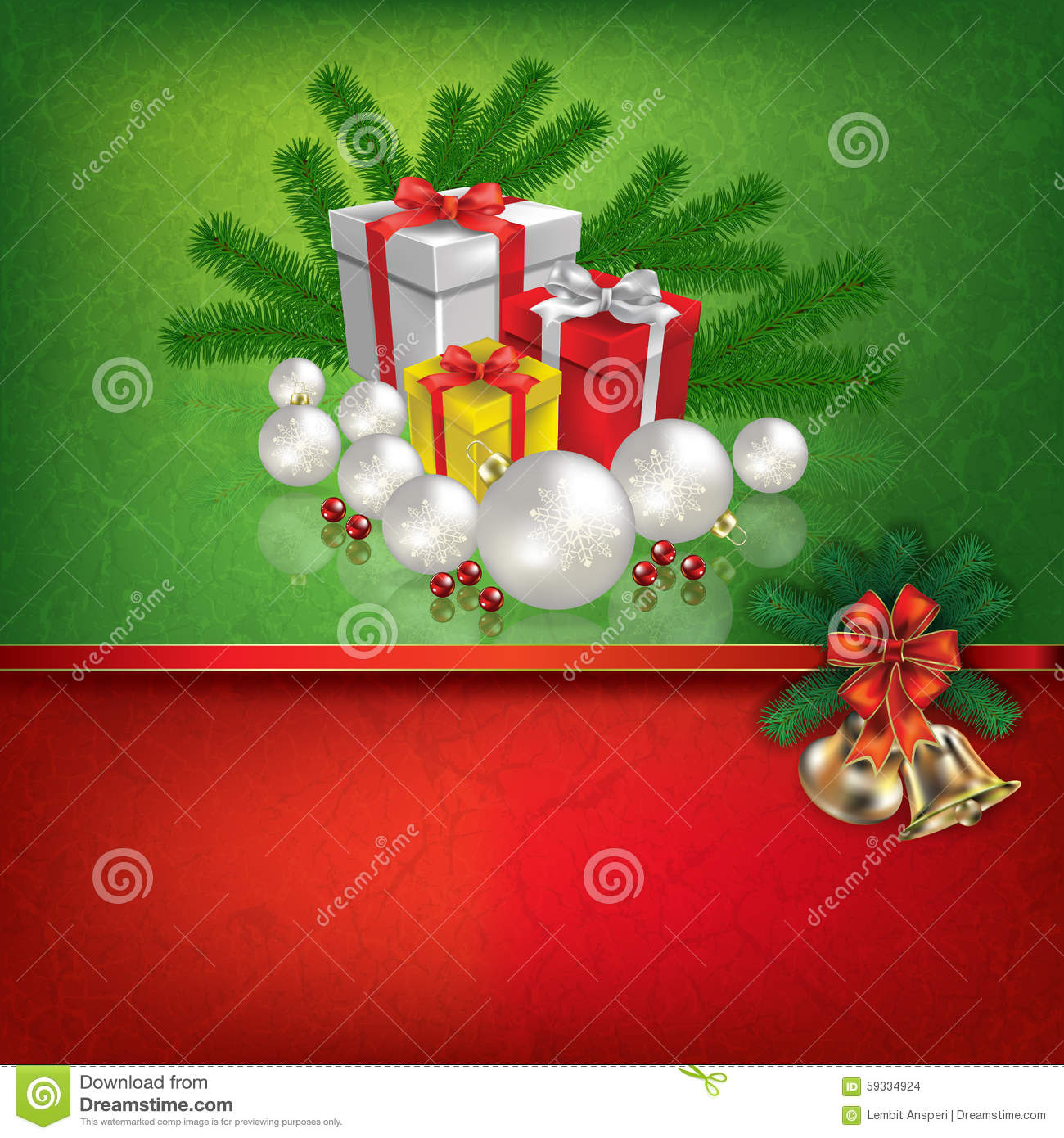 Green red greeting with christmas decorations stock vector