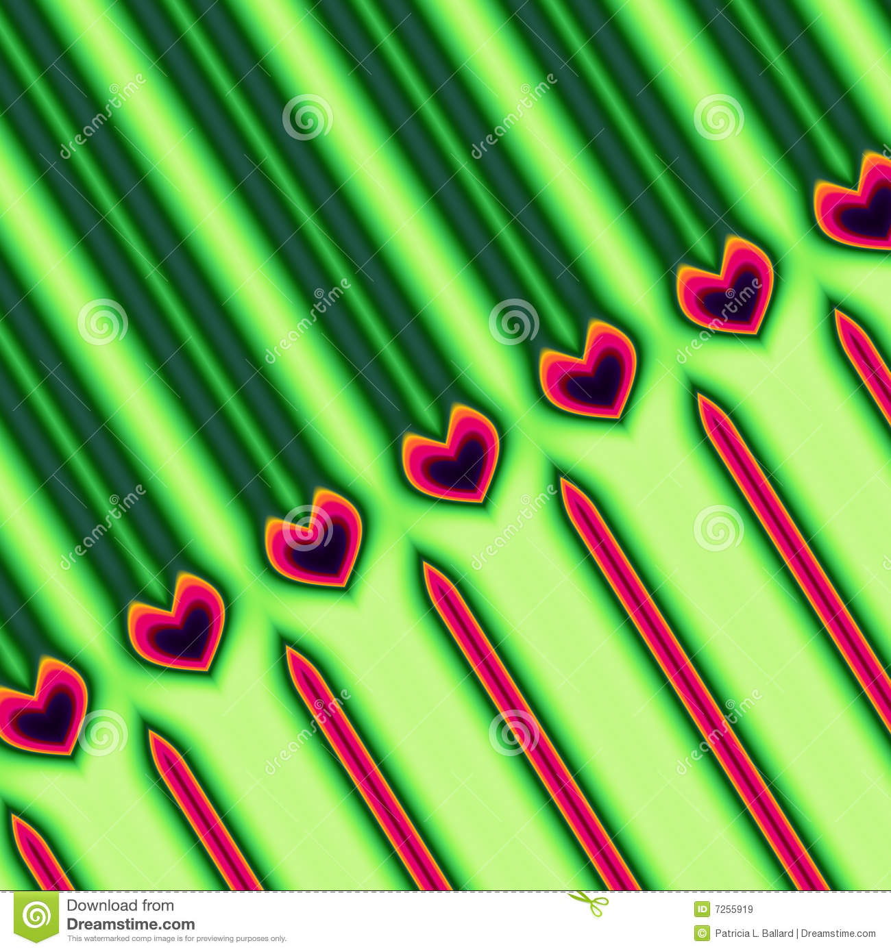 Green and Red Heart Pattern
