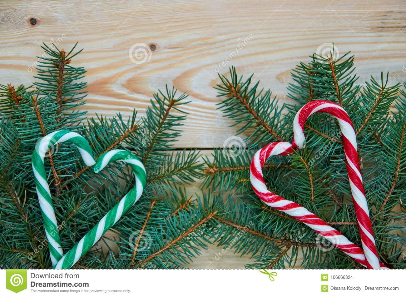 Green And Red Hearts Of Candy Cones On The Christmas Tree Branches With Free Copy Space New Year Or Valentines Day Sweets Decor Stock Photo Image Of Heart Green 106666324