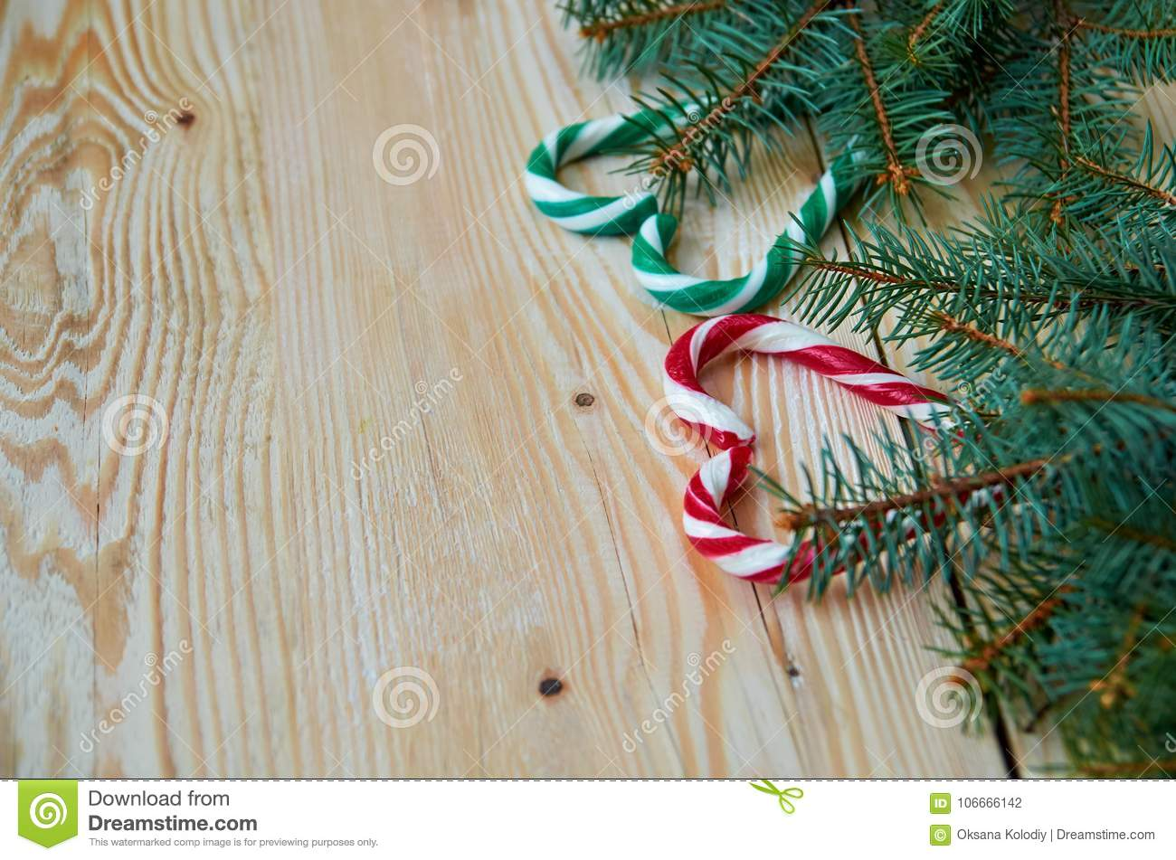 Green Red Hearts Of Candy Cones With Christmas Tree Branches On The Right Side New Year Or Valentines Day Sweets Decorations Stock Photo Image Of Love Cones 106666142