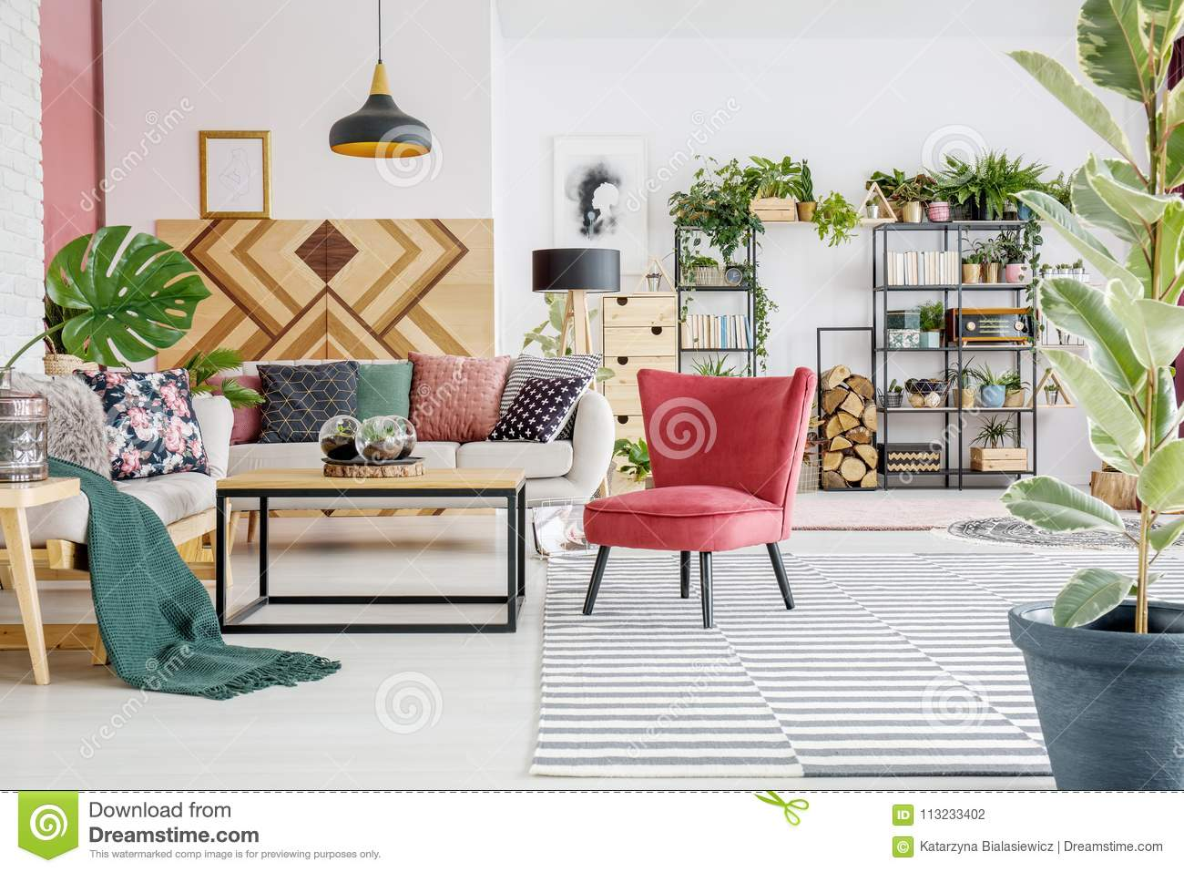 Surprising Green And Red Living Room Stock Photo Image Of Floral Gmtry Best Dining Table And Chair Ideas Images Gmtryco