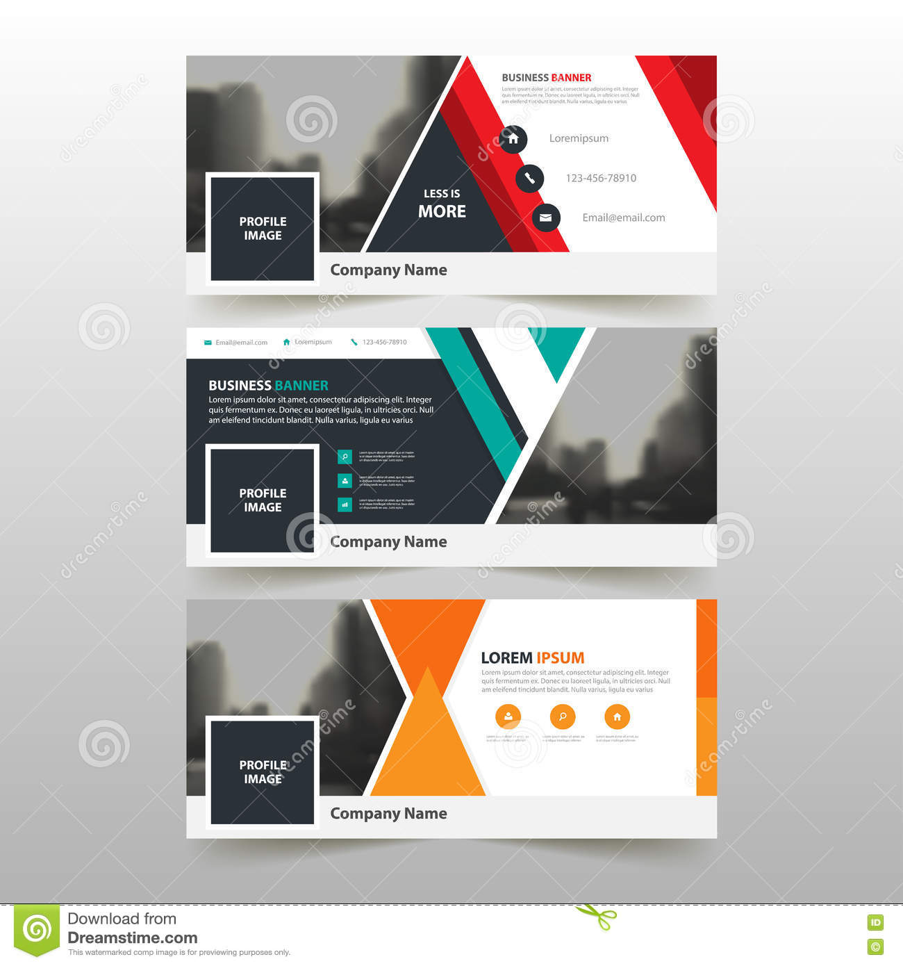Green Red Orange Corporate Business Banner Template, Horizontal ...
