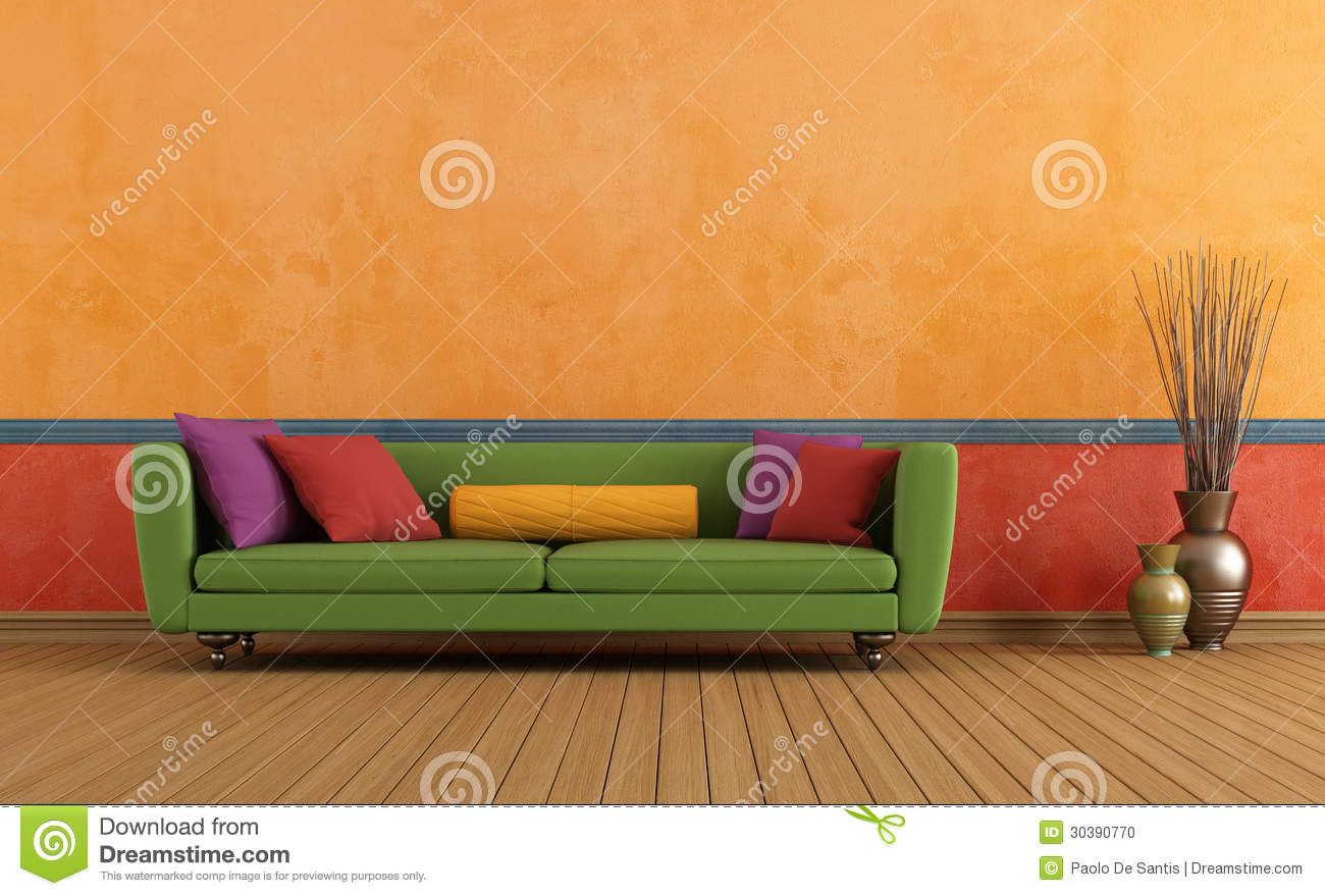 green red and orange living room stock photo - image: 30390770
