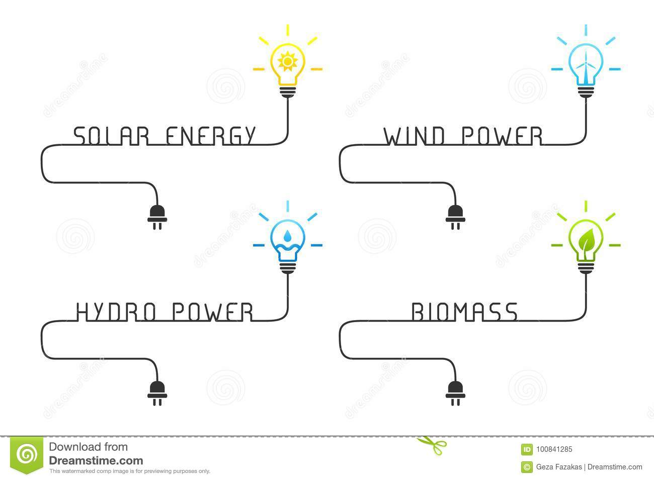 Green And Renewable Energy Sources Concept With Light Bulb Stock Wind Power Biomass Wire Solar Hydro Illustration