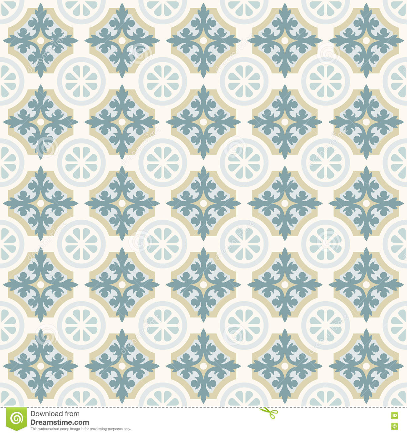 Green Retro Floor Tiles Patern Stock Vector Illustration