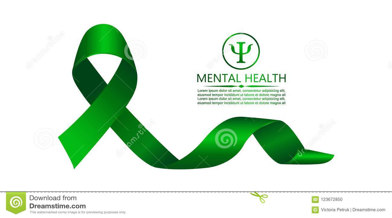 Green Ribbon As Symbol Of Mental Health Awareness Stock Vector