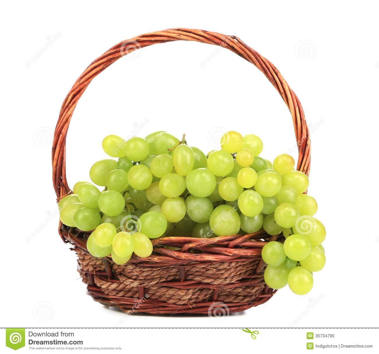 Basket Weaving Grapevines : Green ripe grapes in basket stock photo image