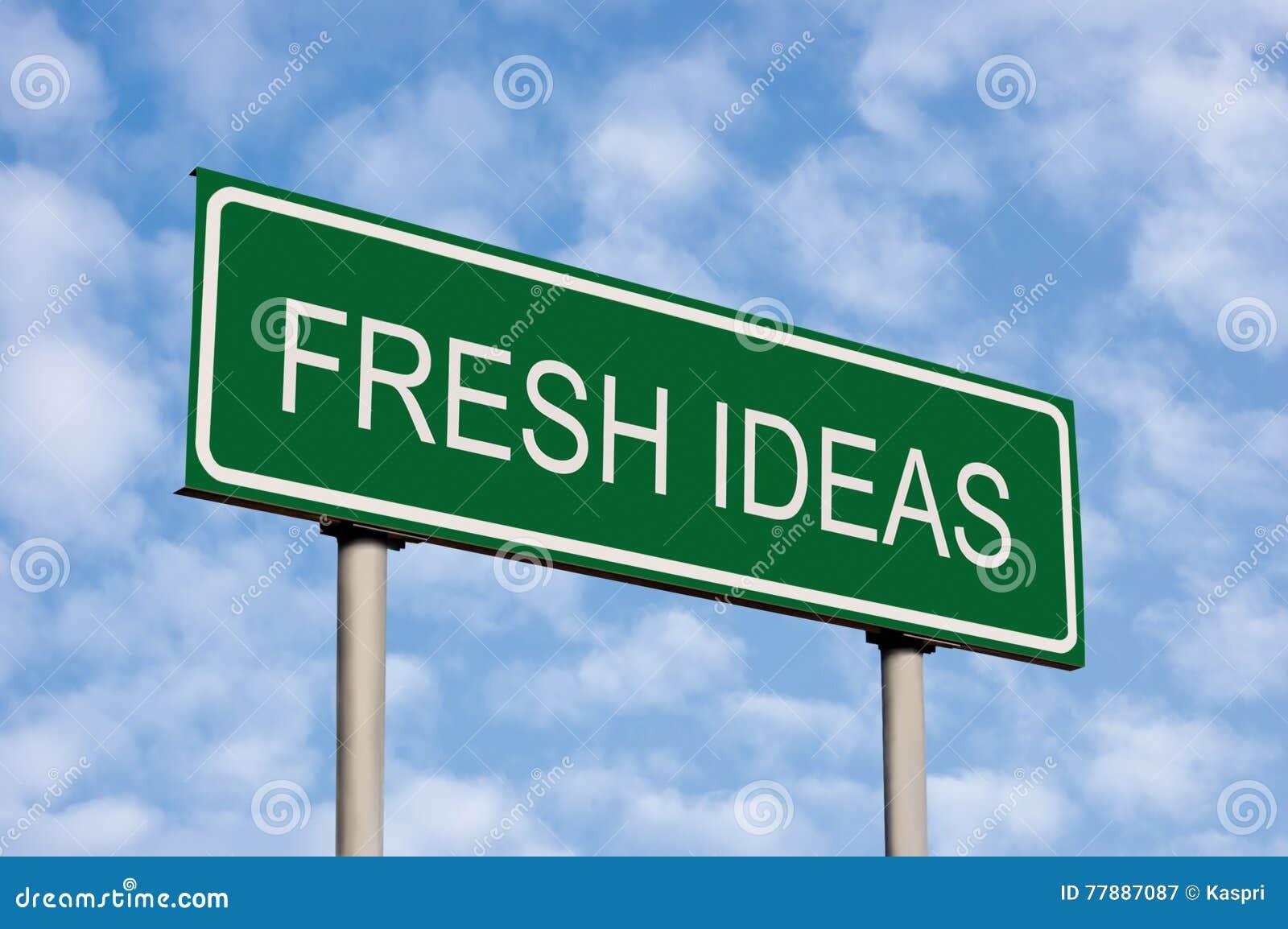 Green Road Sign Fresh Ideas Text Concept Bright Cloudscape Sky