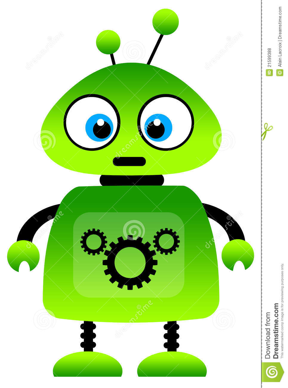 Green Robot Royalty Free Stock Photos - Image: 21599388
