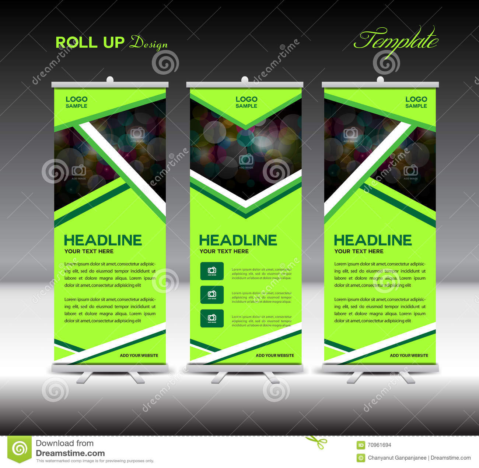 Design banner template - Royalty Free Vector Download Green Roll Up Banner Template Stand Template Design