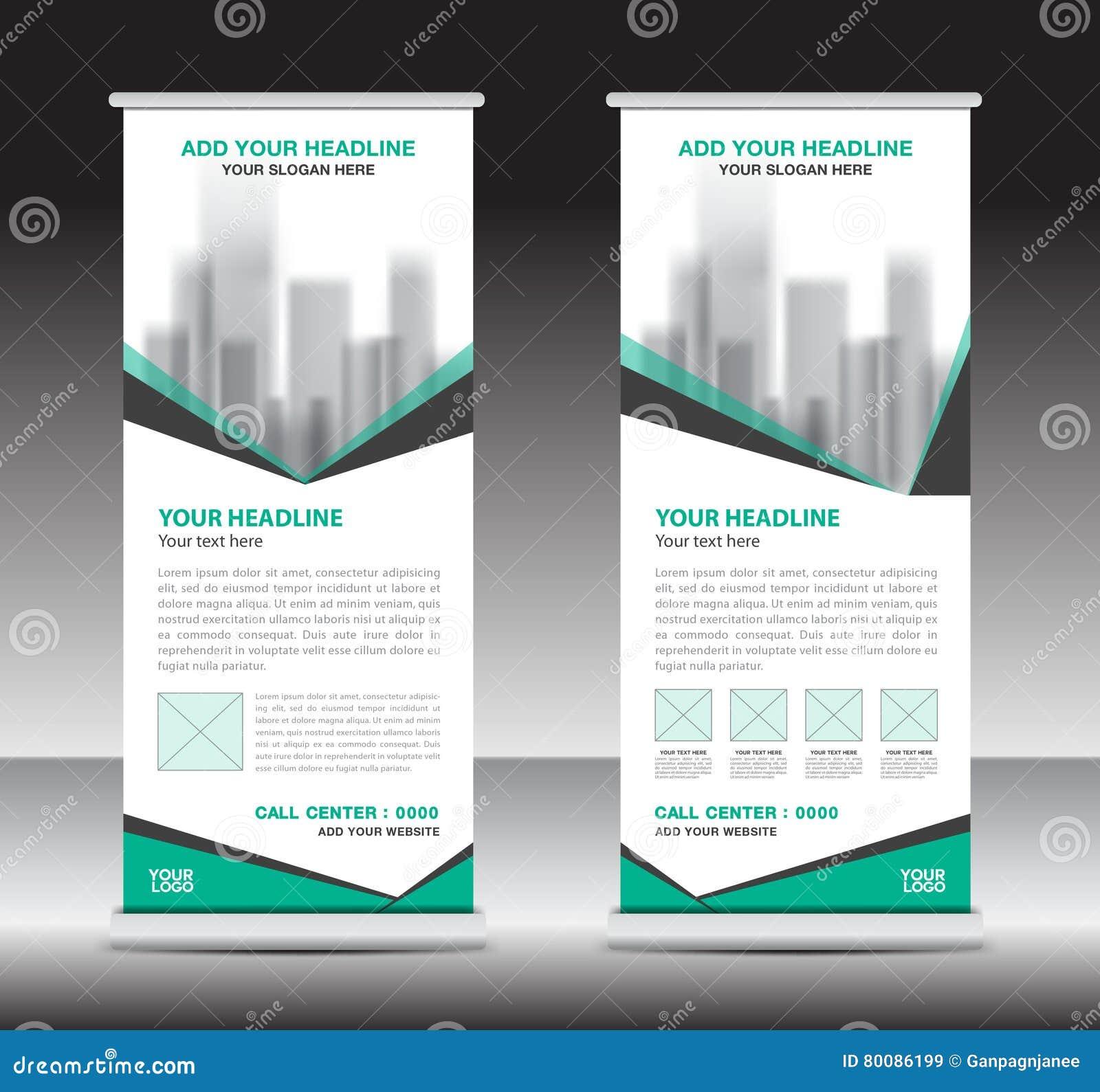 Green roll up business brochure flyer banner design vertical template - Advertisement Banner Brochure Business Design Flag Flyer Green Roll Stand Template Vertical