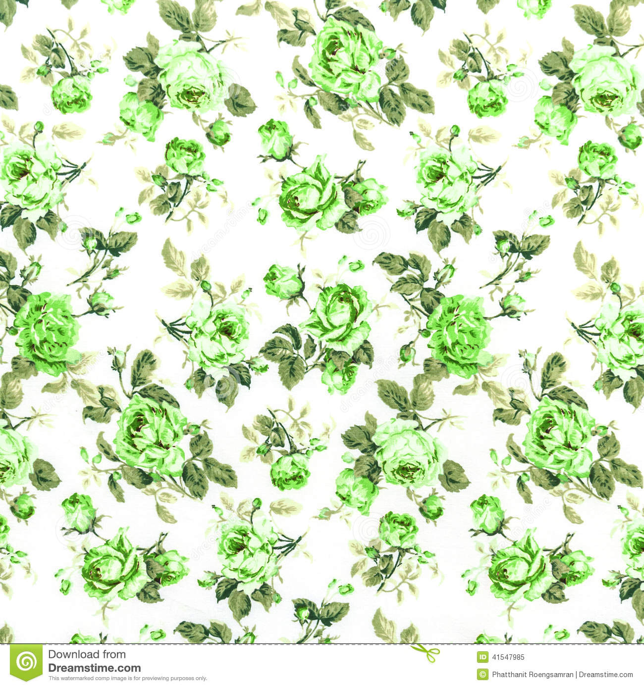 Green Rose Fabric Background, Fragment Of Colorful Retro