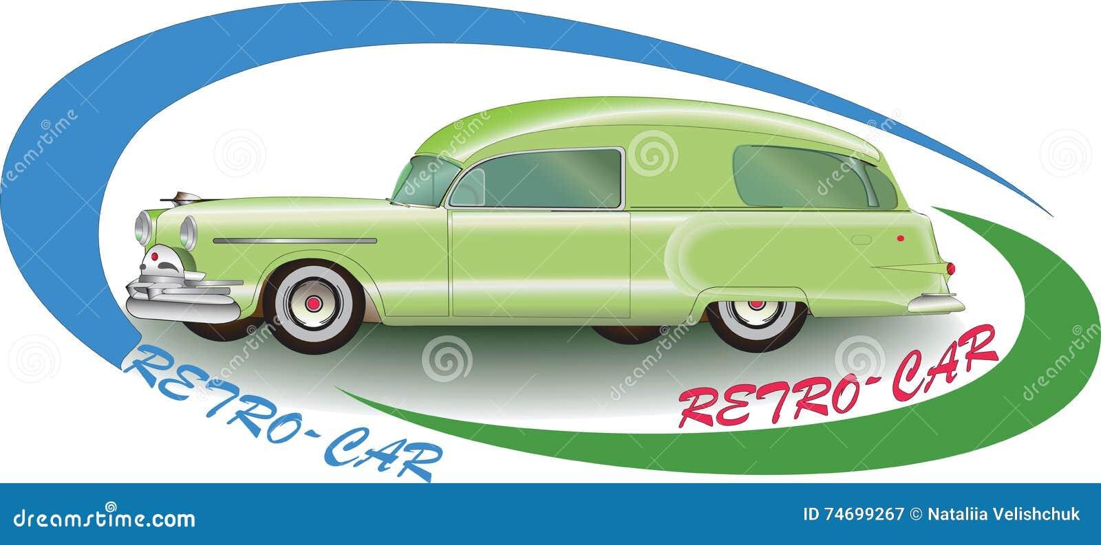 Green Rretro Car 1953 Vector Image Auto