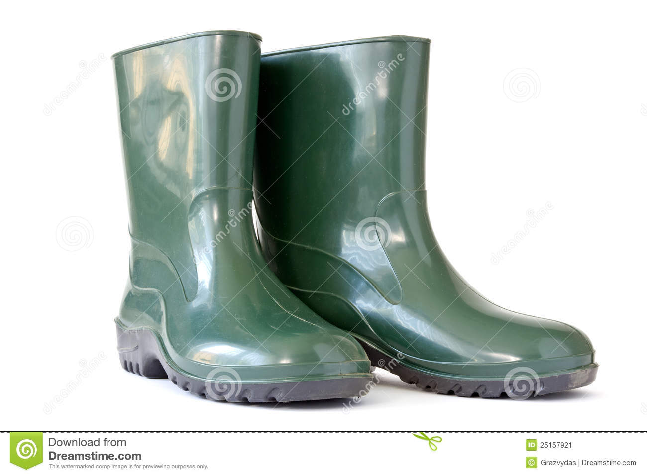 Red Rain Boots Clipart Green rubber boots Stock Image