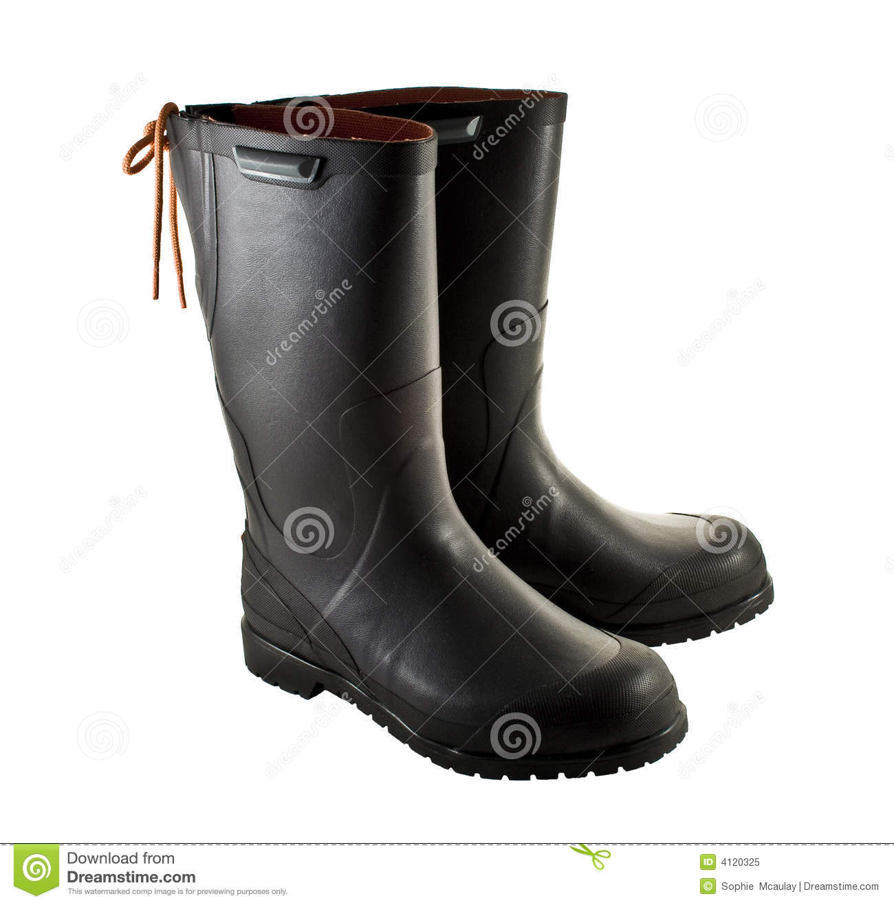 green Rubber boots isolated