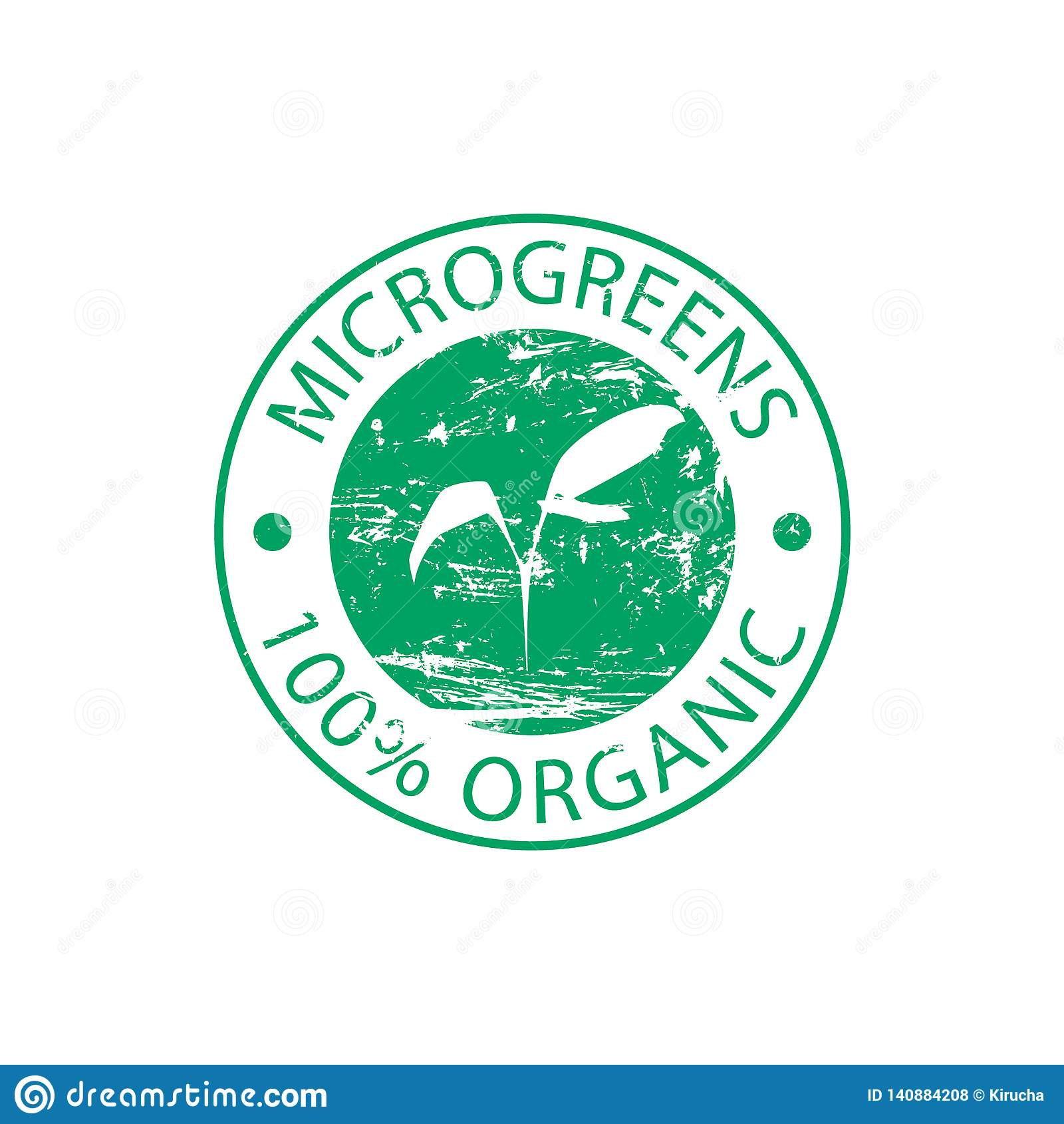 Green rubber round stamp Microgreen