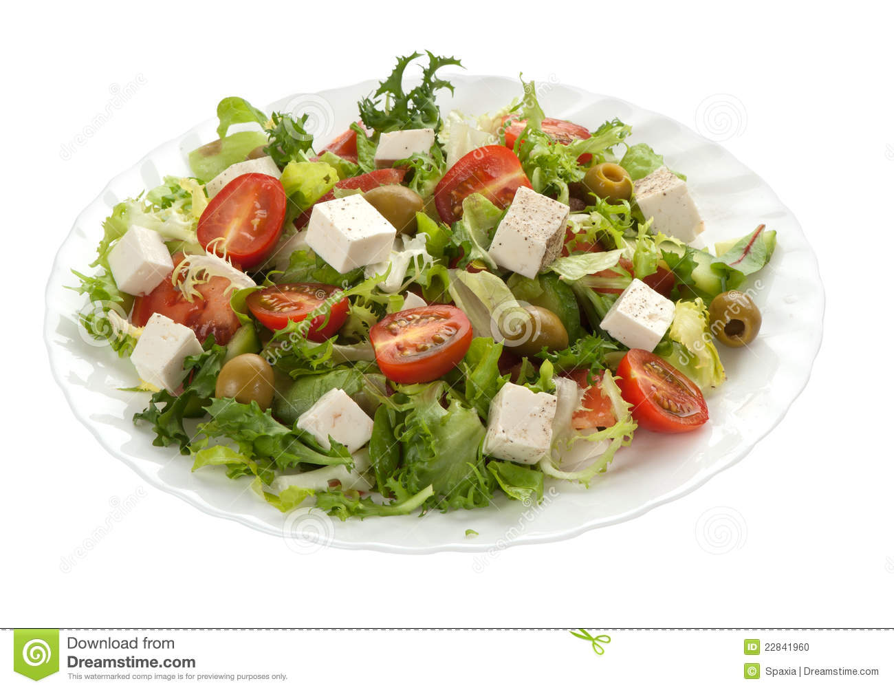 Green Salad With Feta Cheese Stock Photo - Image: 22841960