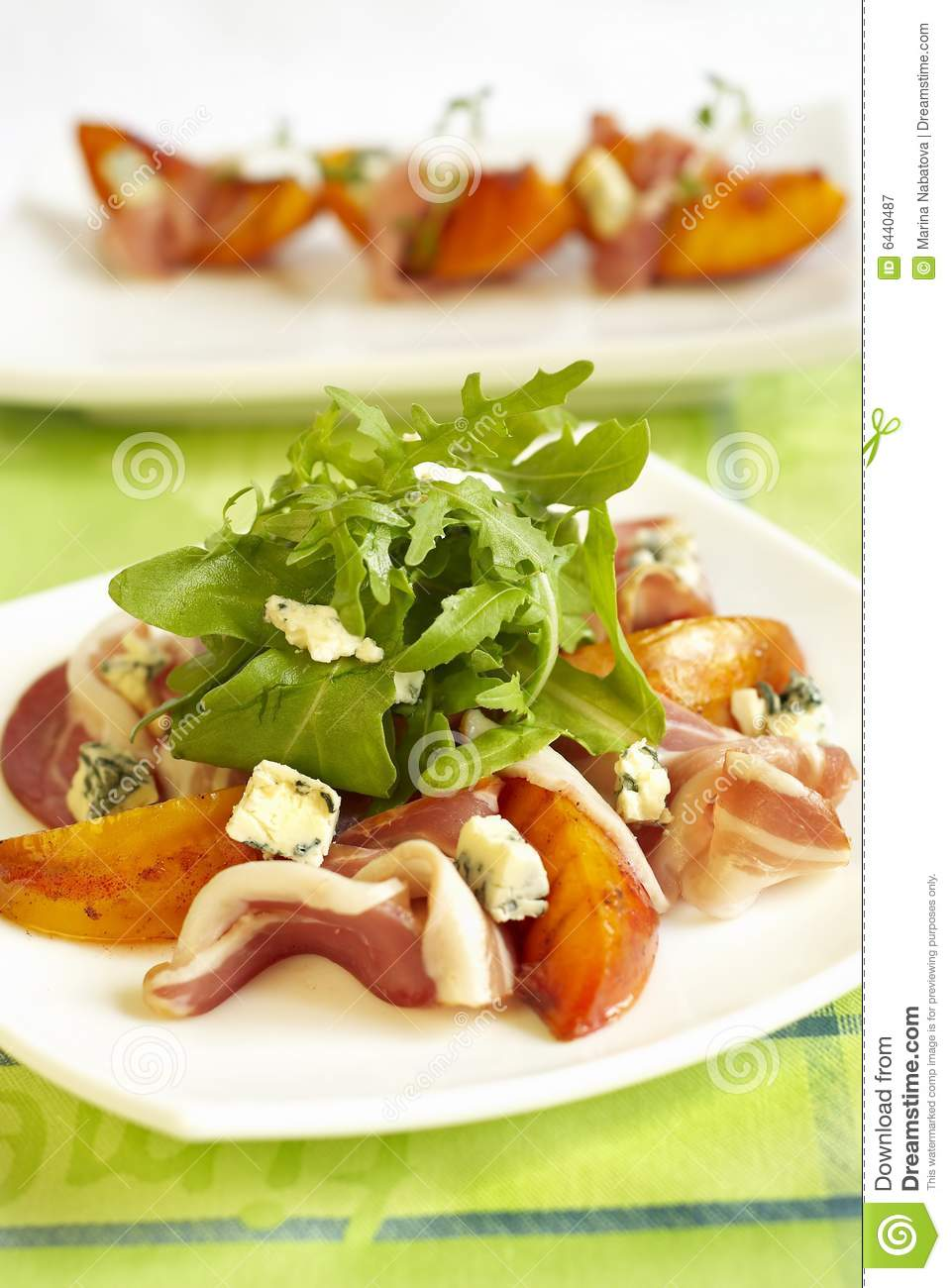 Green Salad With Peaches, Blue Cheese And Ham Royalty Free Stock ...