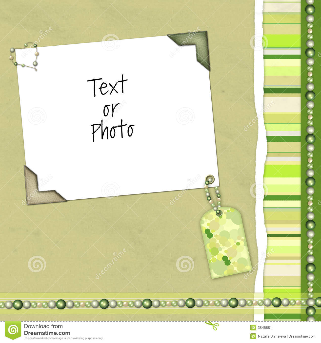 Green Scrapbook Layout With Colorful Decorations For Your Photo Or